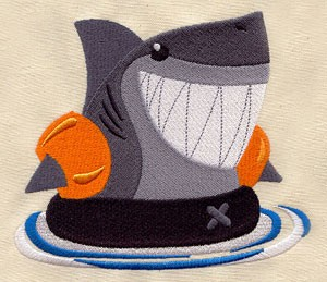 Shark Week Embroidery Pillow Project - sewhere com -